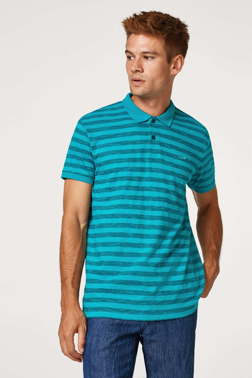 Esprit - Striped jersey polo shirt in blended cotton