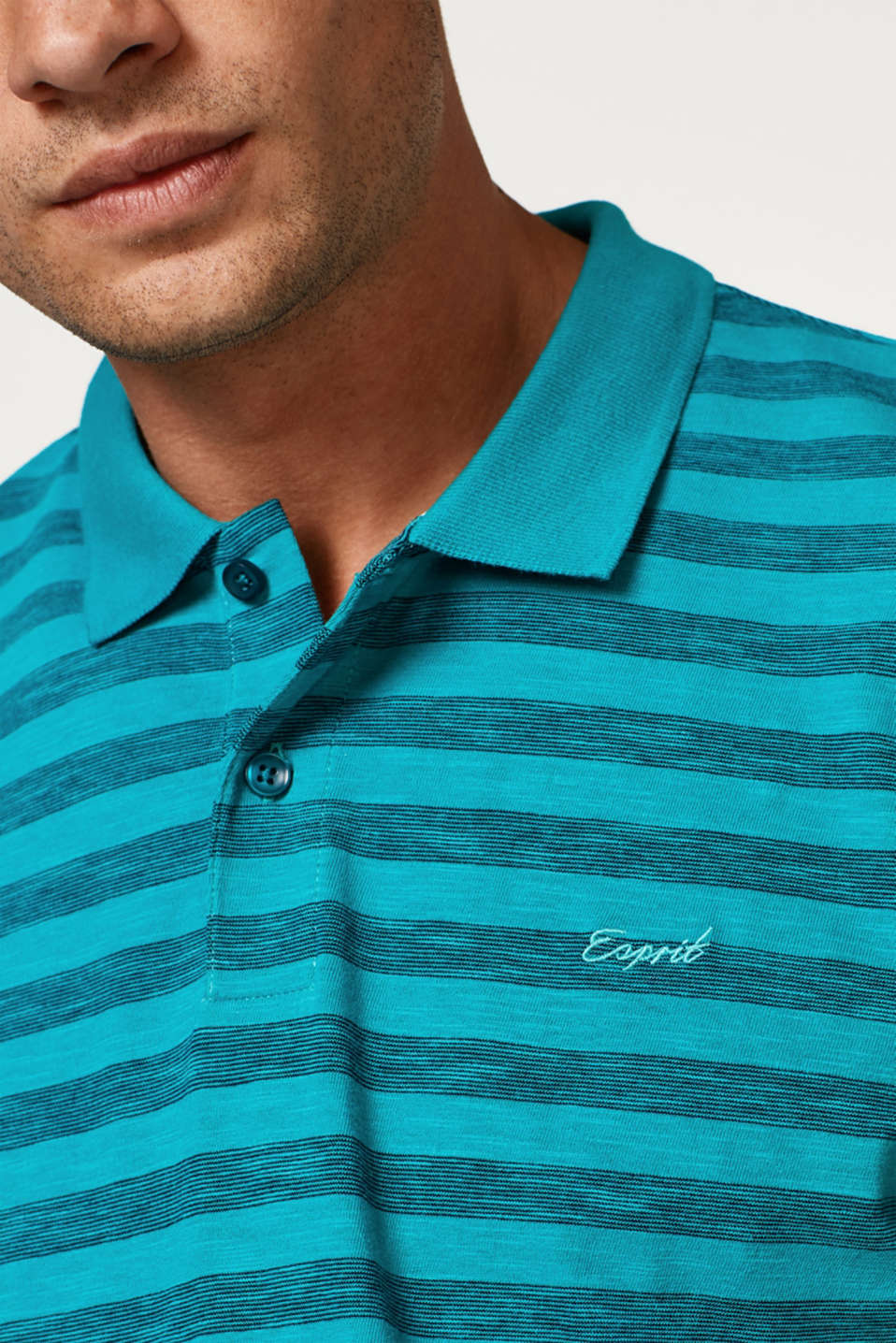 Striped jersey polo shirt in blended cotton