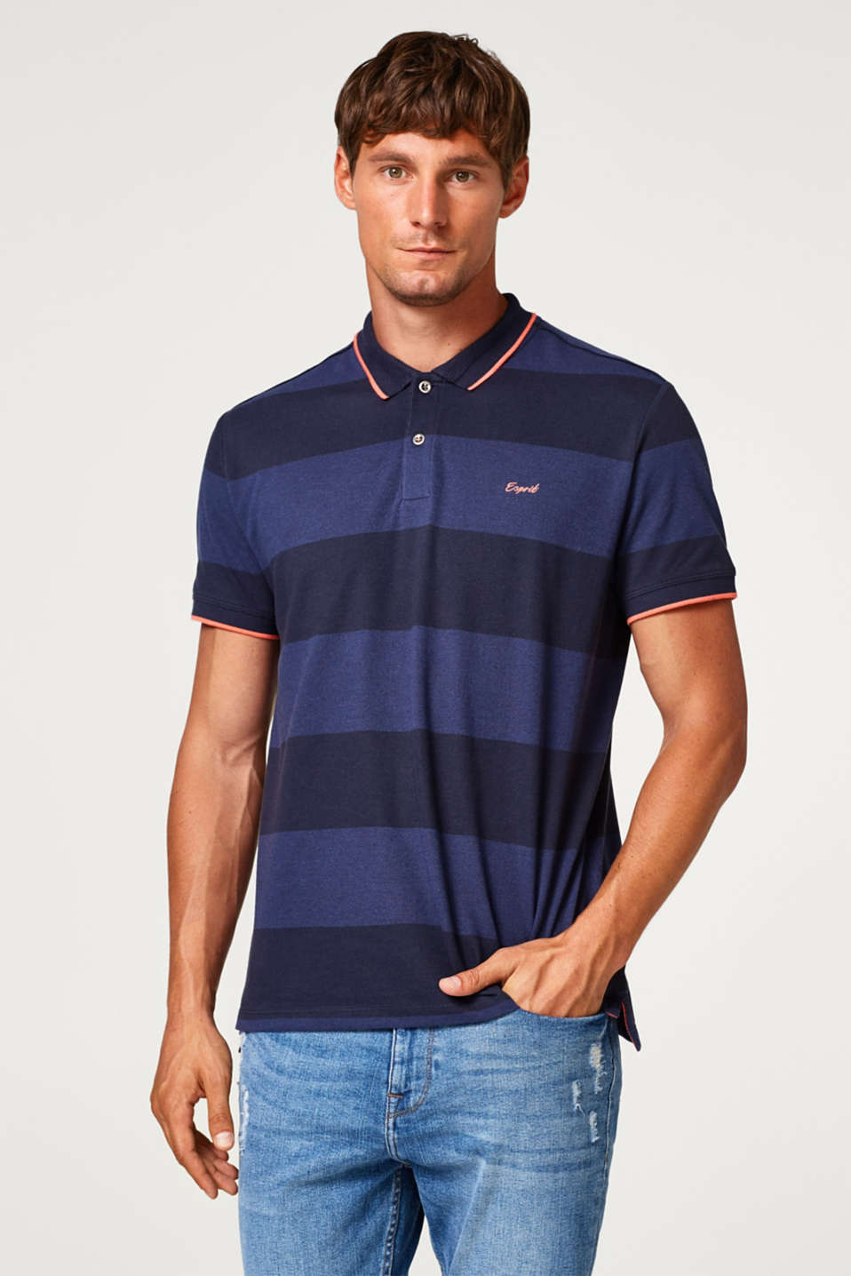 Esprit - Striped piqué polo shirt in blended cotton