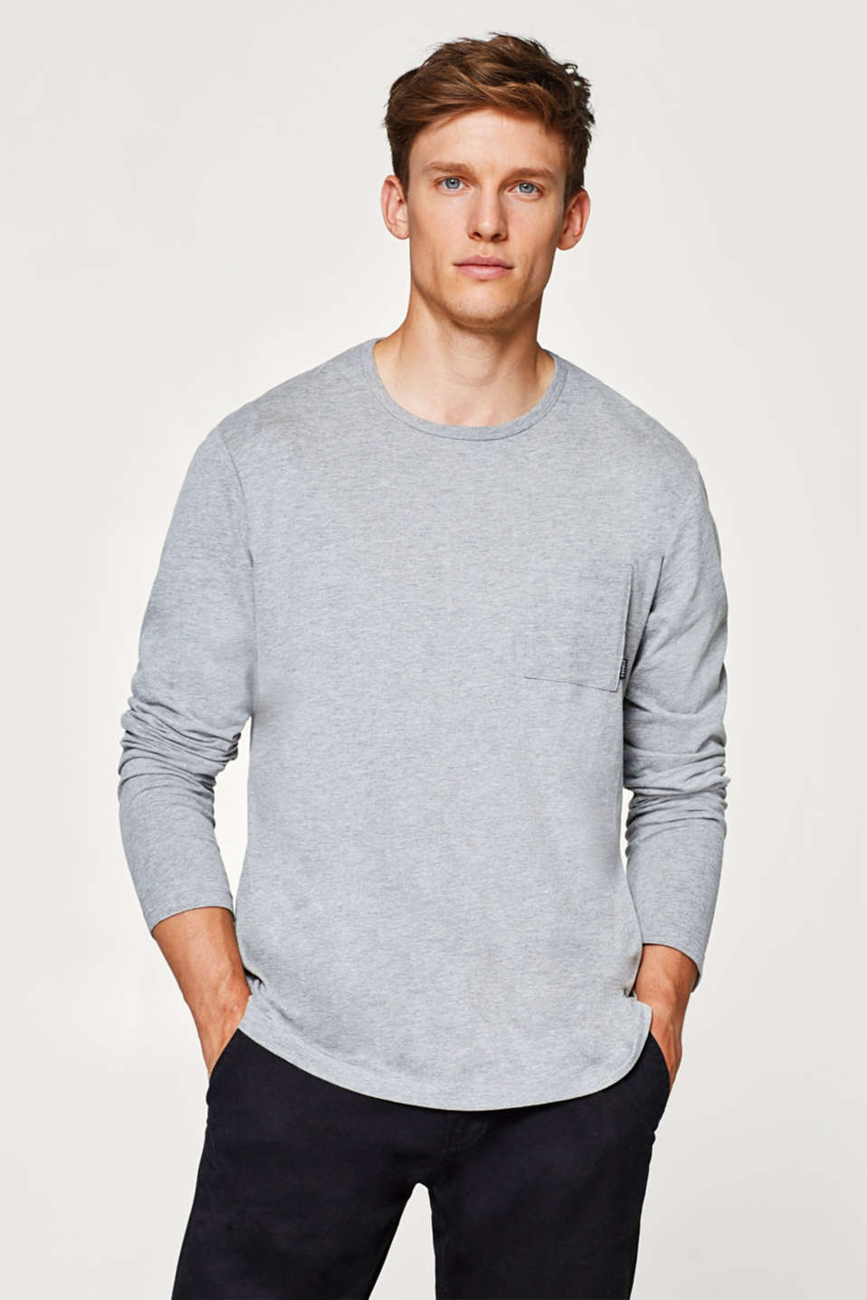 Esprit - Long sleeve top made of melange jersey