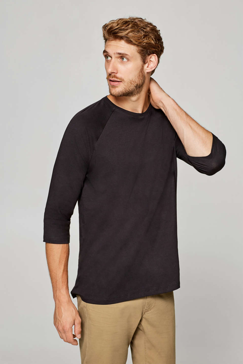 Esprit - Organic cotton-jersey T-shirt with 3/4-length sleeves