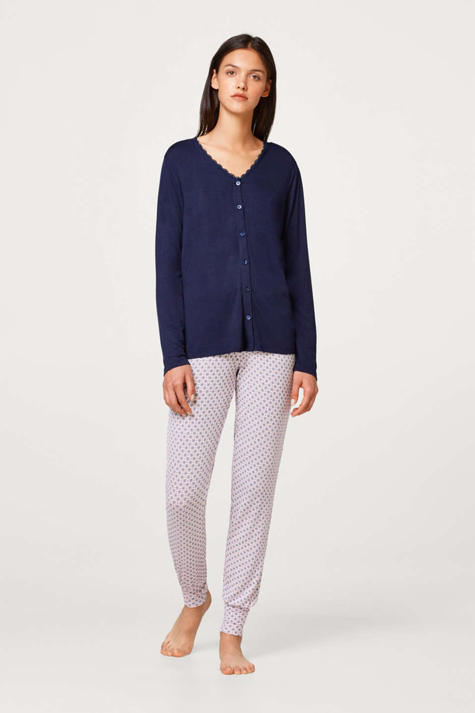 Esprit - Jersey pyjamas with lace and a print