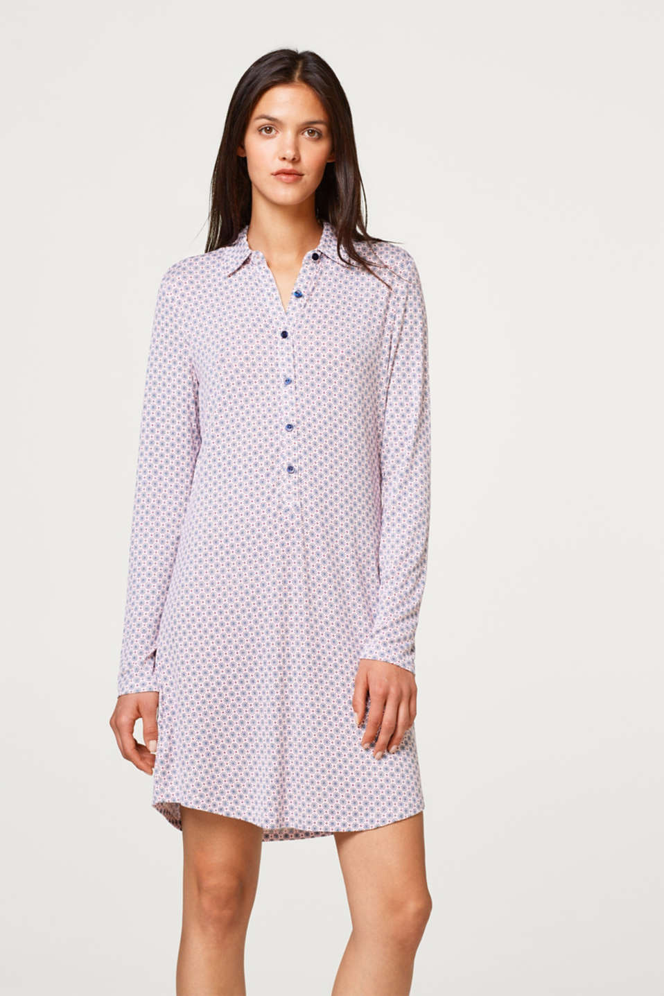 Esprit - Jersey nightshirt with a collar and button placket