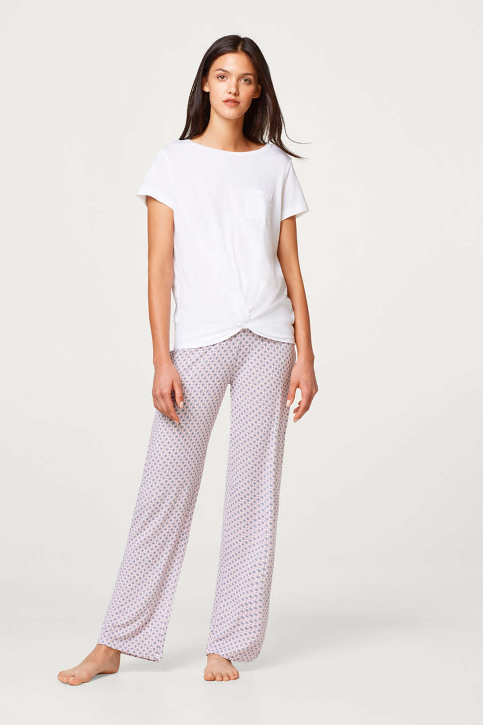 Esprit - Stretch jersey trousers with an ornament print