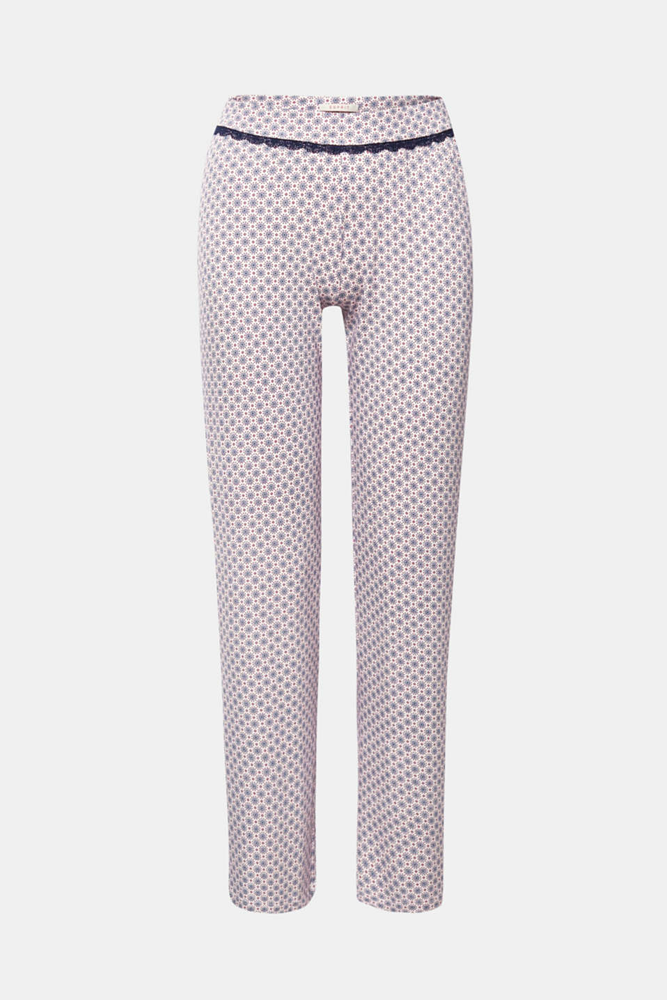 Femininely detailed, chill-out trousers! These jersey trousers are distinguished by their decorative ornament print whilst the lace border gives them a stylish, romantically-inspired update.