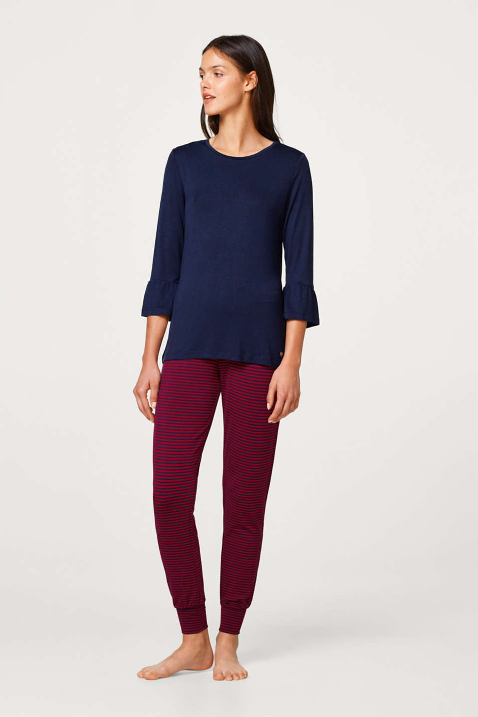 Esprit - Stretch jersey pyjamas with flounce sleeves