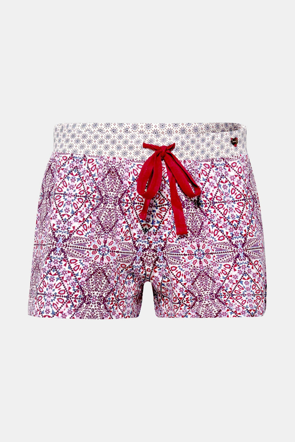 A colourful combination of patterns! These jersey shorts owes their unmistakably stylish look to the combination of big and small ornamental prints.