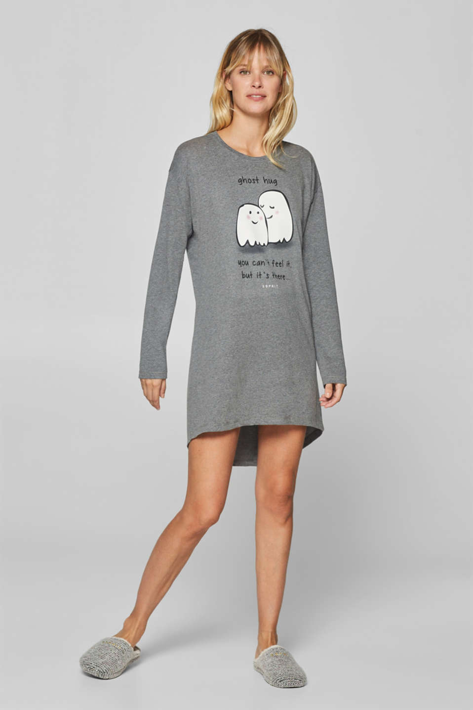 Esprit - Melange jersey nightshirt with a front print