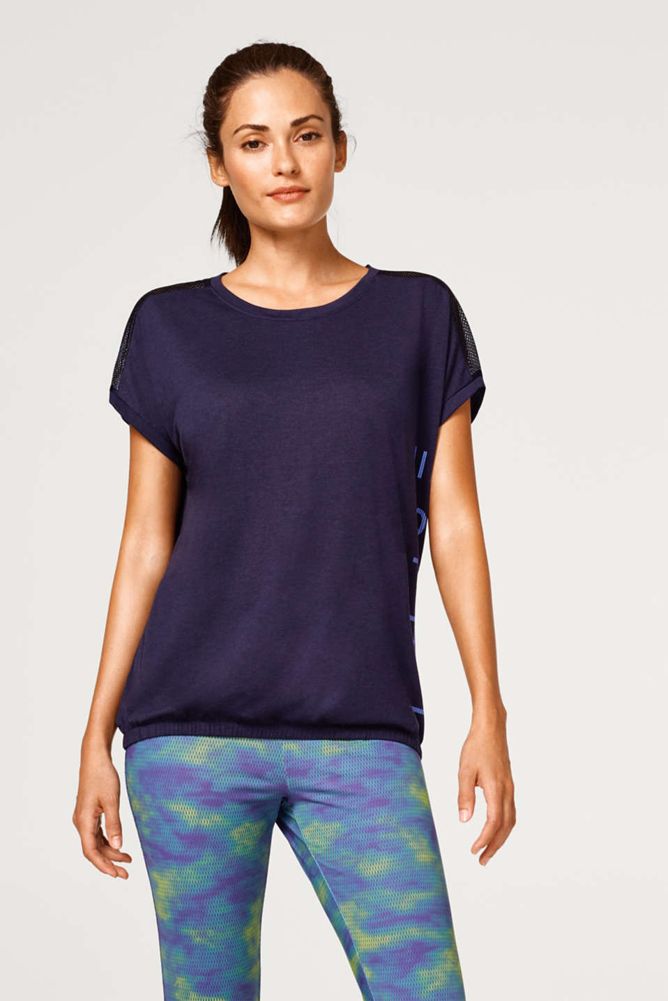 Esprit - Logo top with mesh details and an elasticated hem