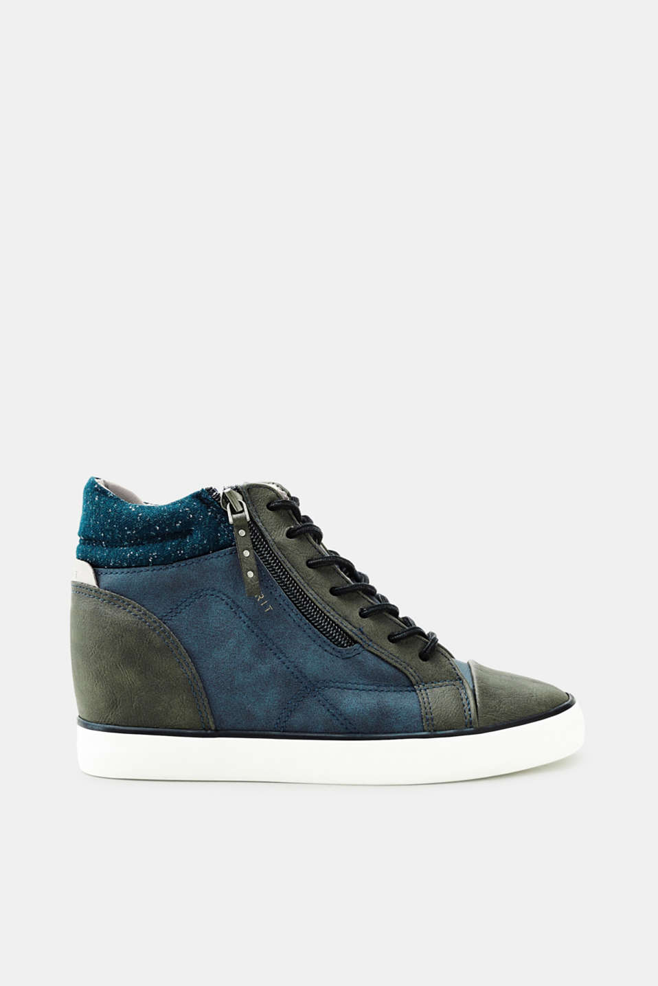 Esprit - Trainers with a wedge heel in faux nubuck leather