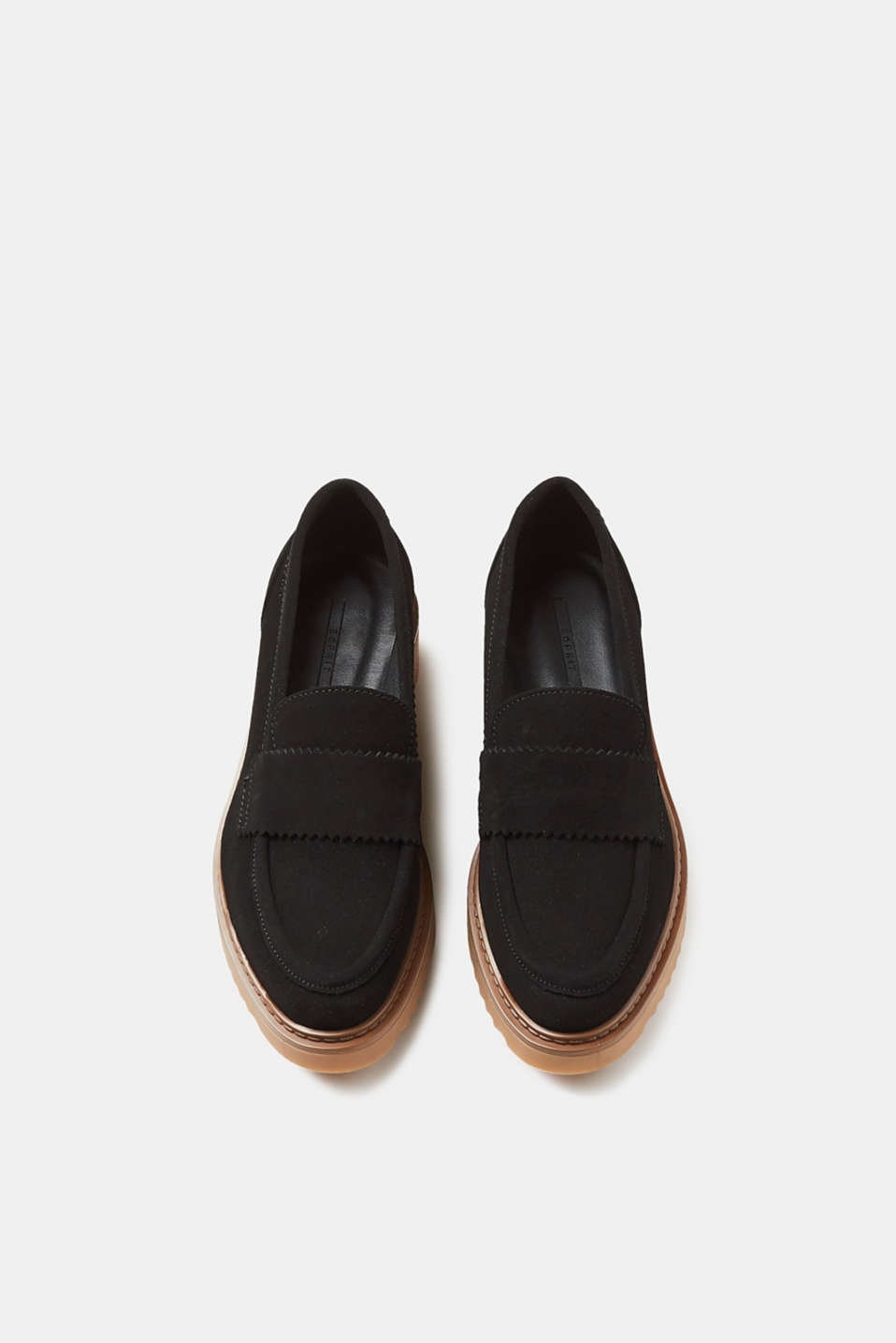 Leren loafers met plateauzool