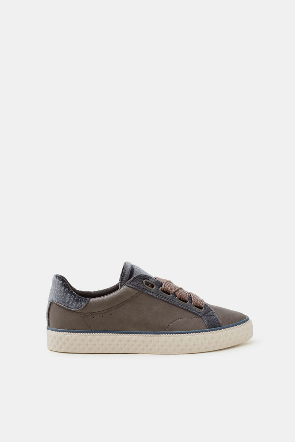 Esprit - Trainers in imitation leather with a velvet trim
