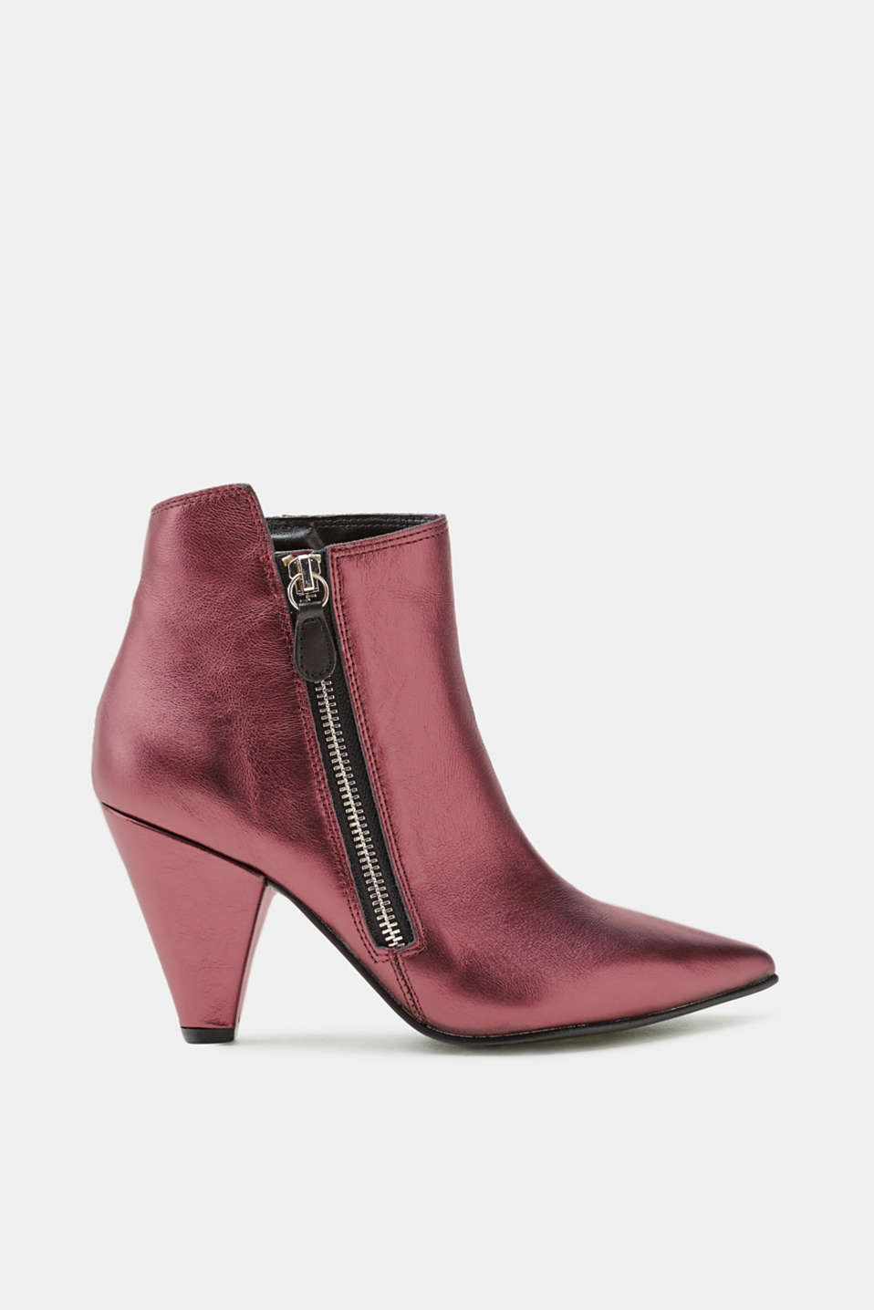 Esprit - Metallic leather ankle boots