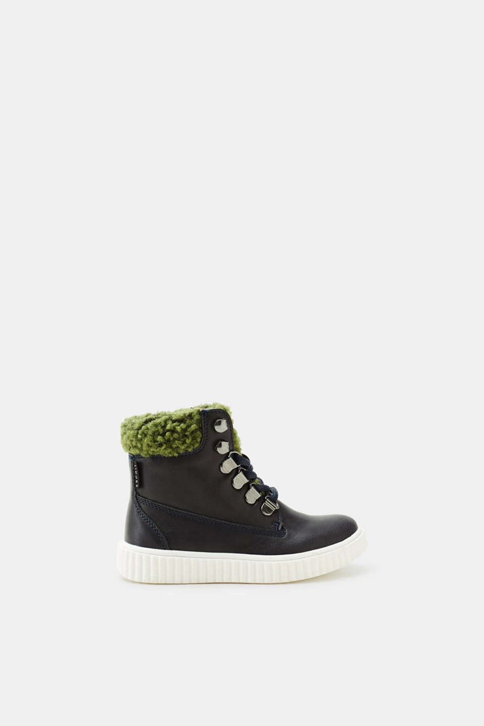 Esprit - Lace-up boots in imitation leather with teddy fur