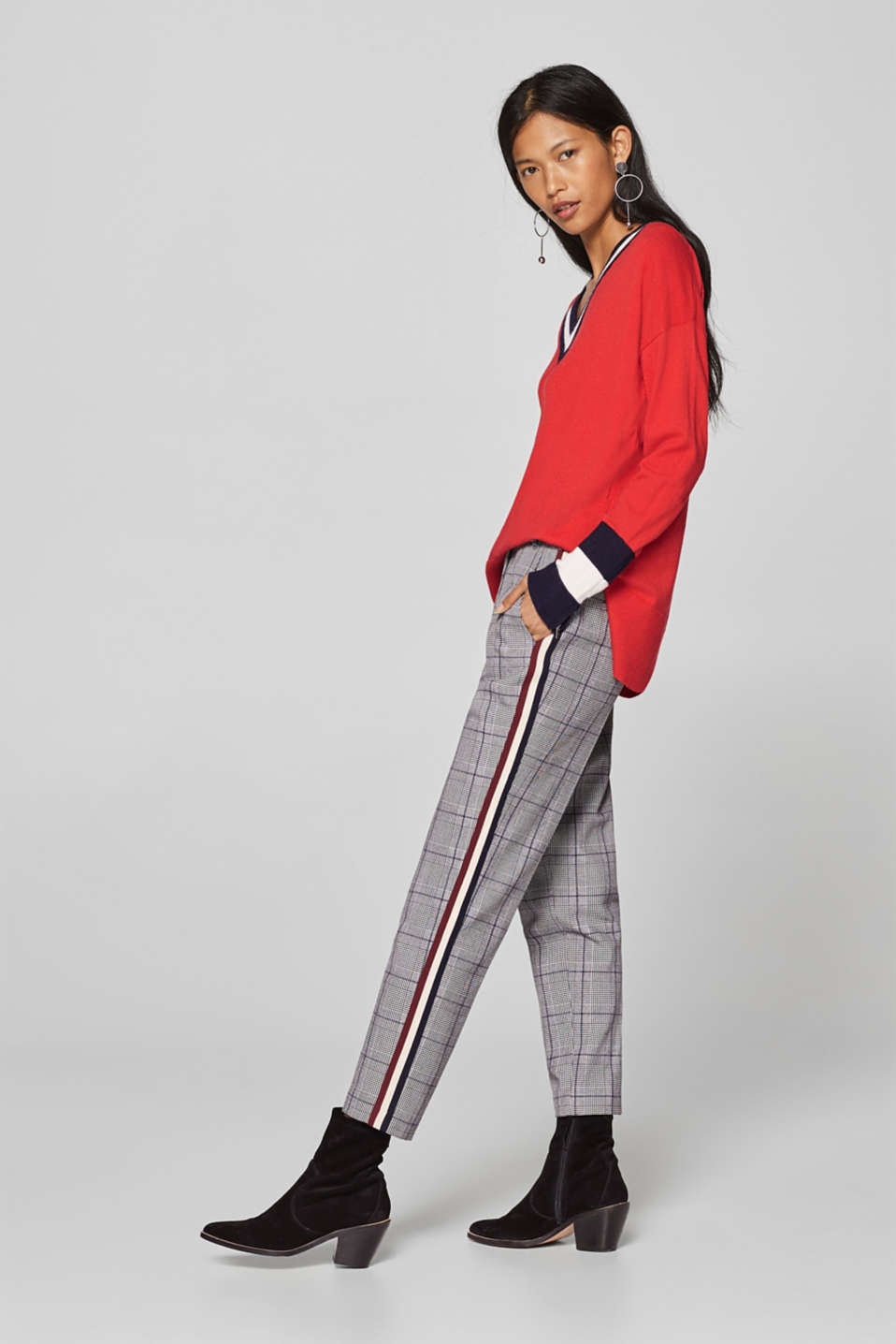 Esprit - GLENCHECK STYLE mix + match stretch trousers