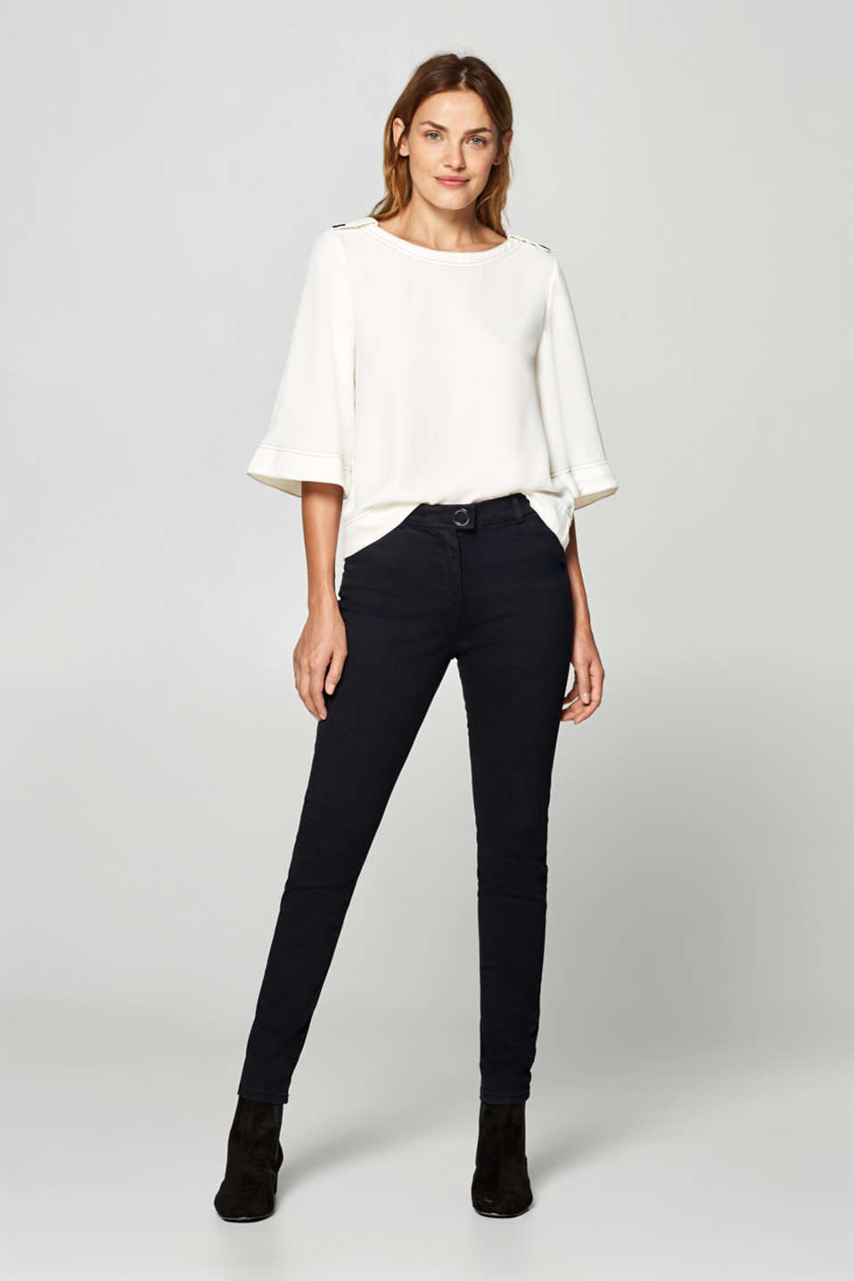 Esprit - Stretch trousers with a satined outer surface