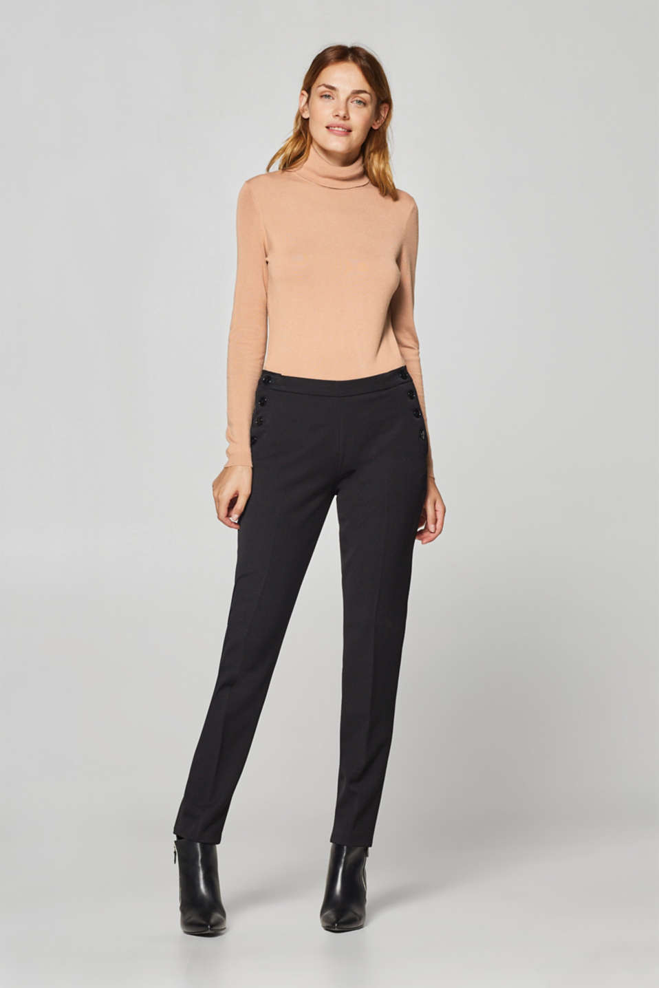 Esprit - Two-way stretch trousers with button plackets