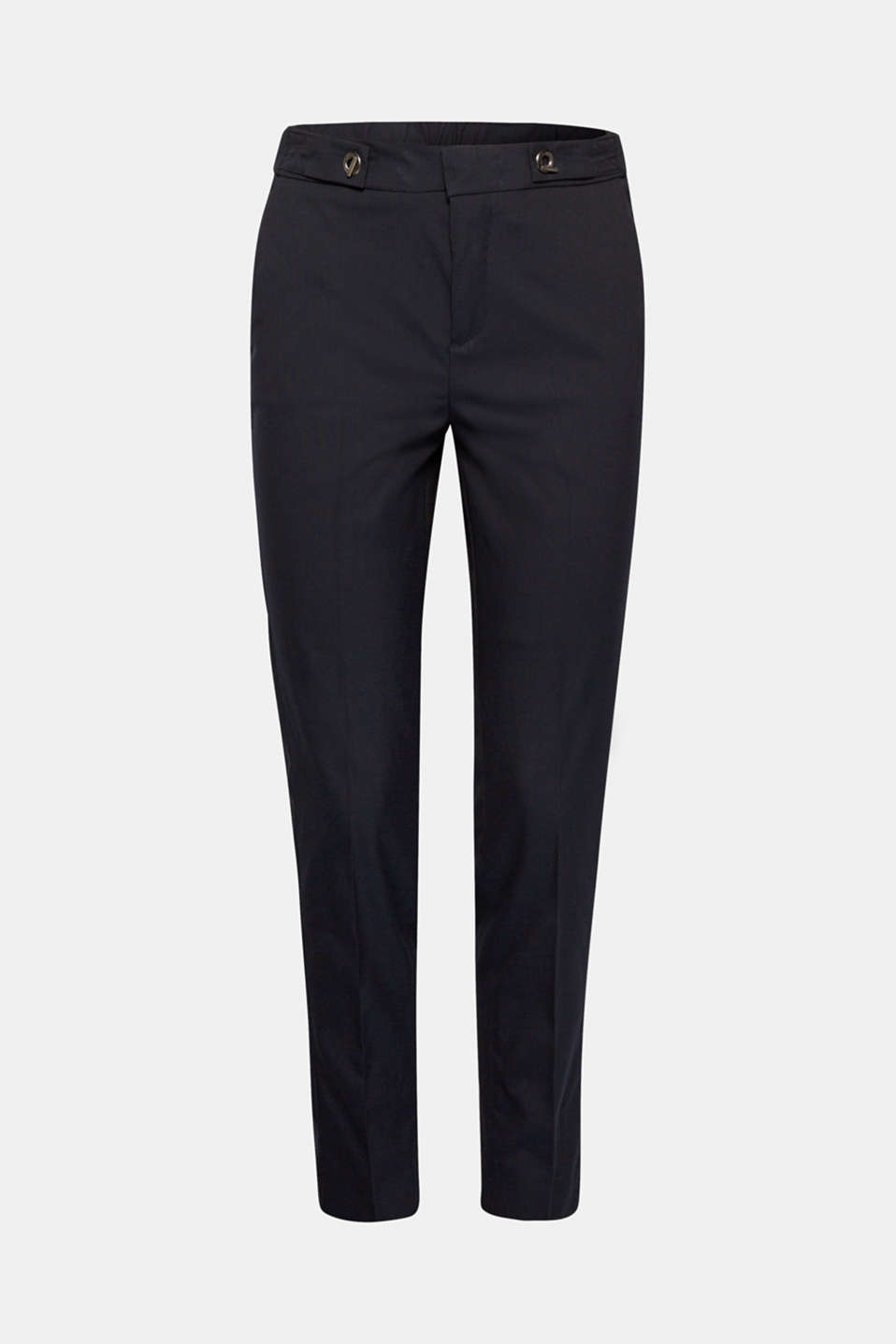 Comfortable chic: These lightweight business tracksuit bottoms with added stretch for comfort feature a comfortable, elasticated waistband with embellished waist straps and pressed pleats for an elegant, eye-catching finish!