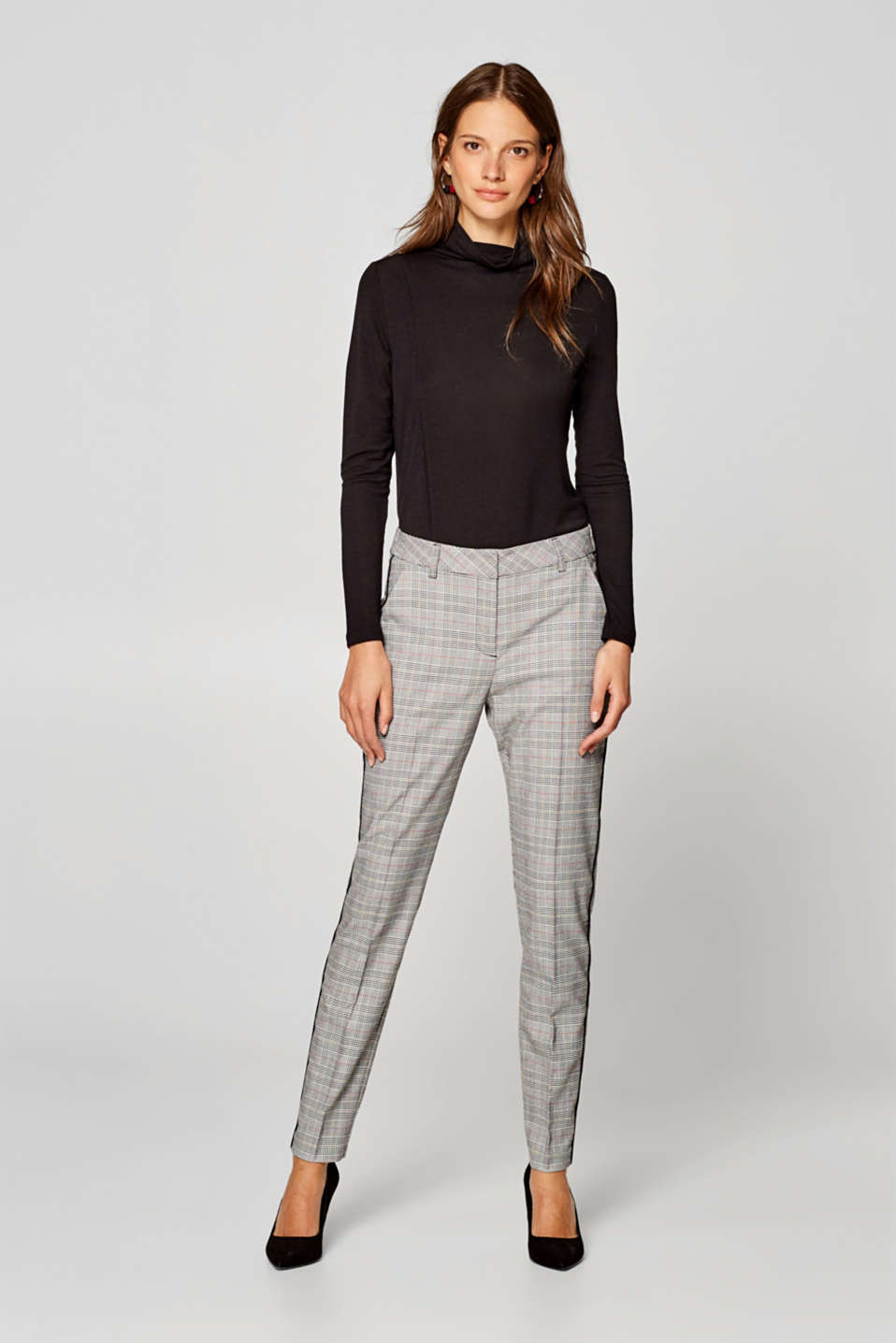 Esprit - Prince of Wales check stretch trousers with piping