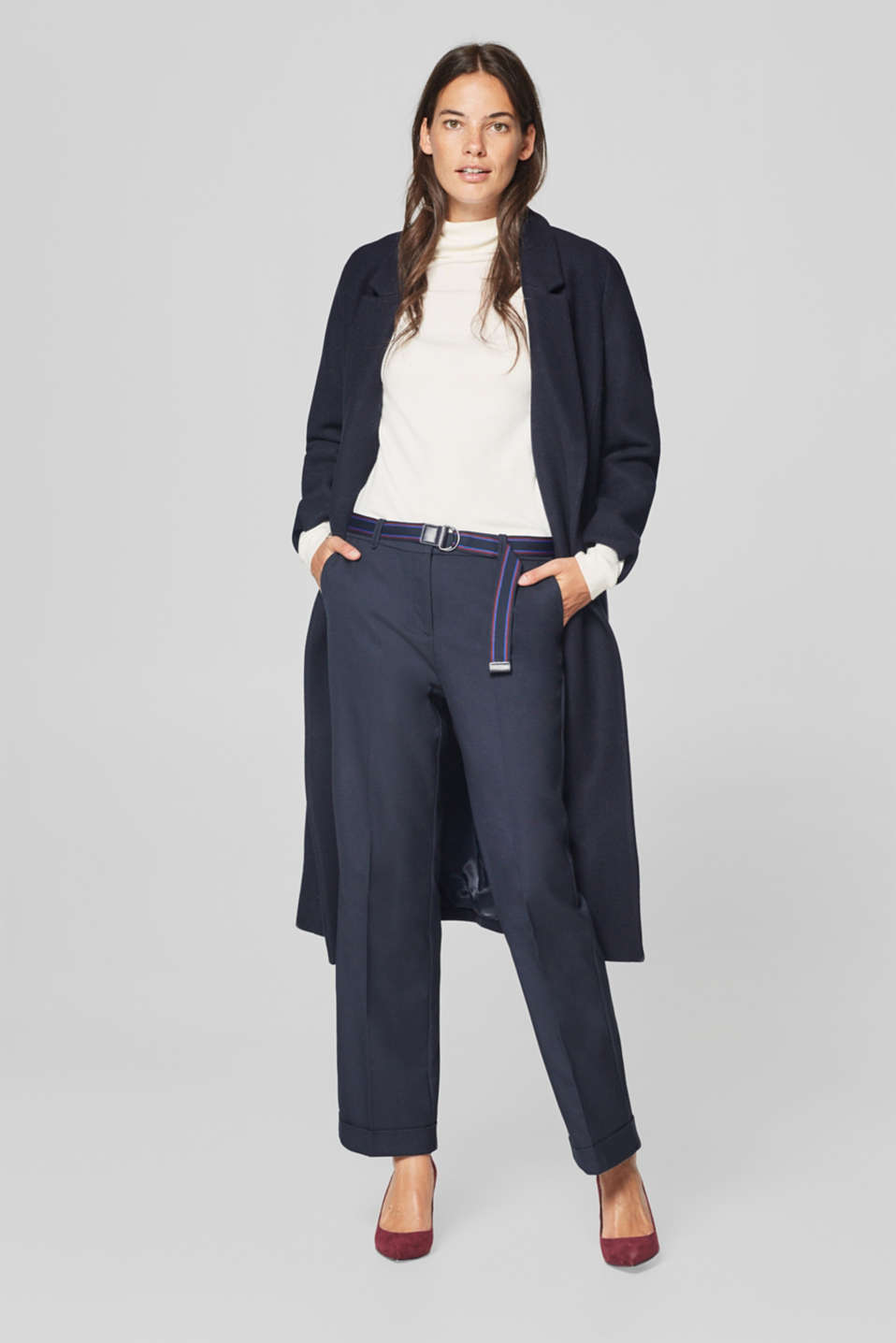 Stretch business trousers with belt
