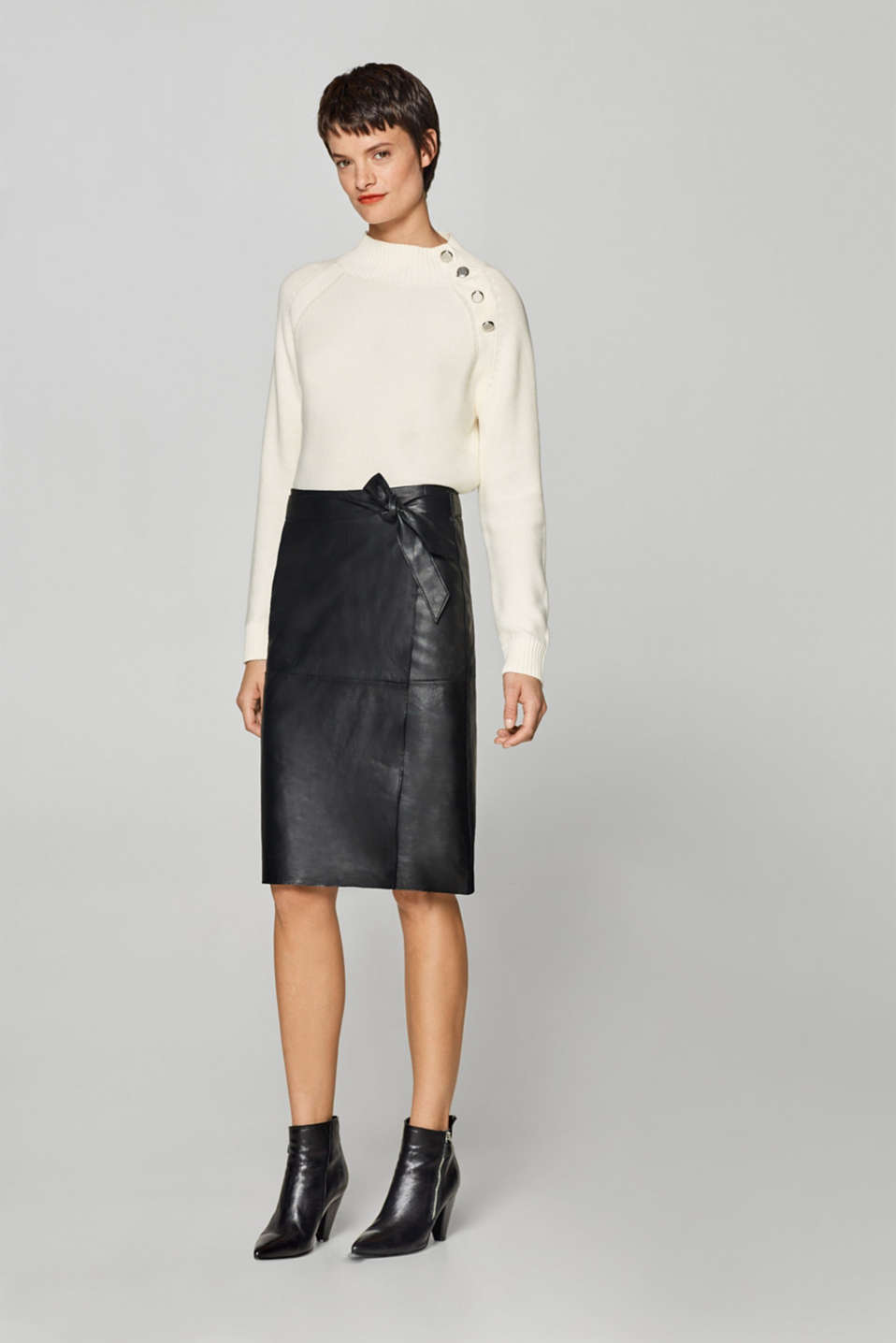 Esprit - Wrap-effect leather skirt with a belt