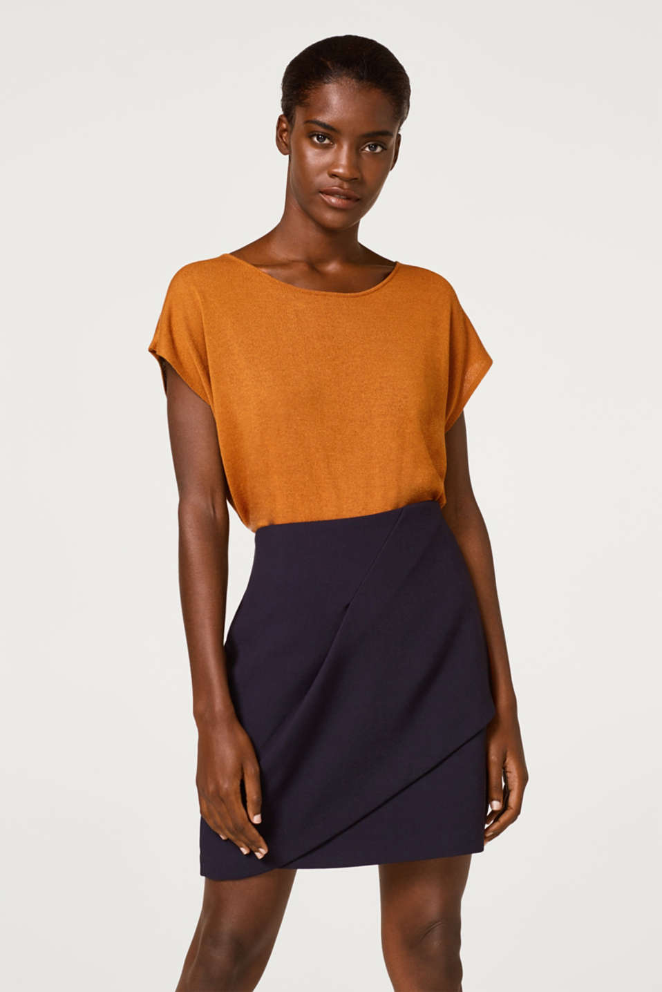 Esprit - Skirt with an innovative wrap-over effect