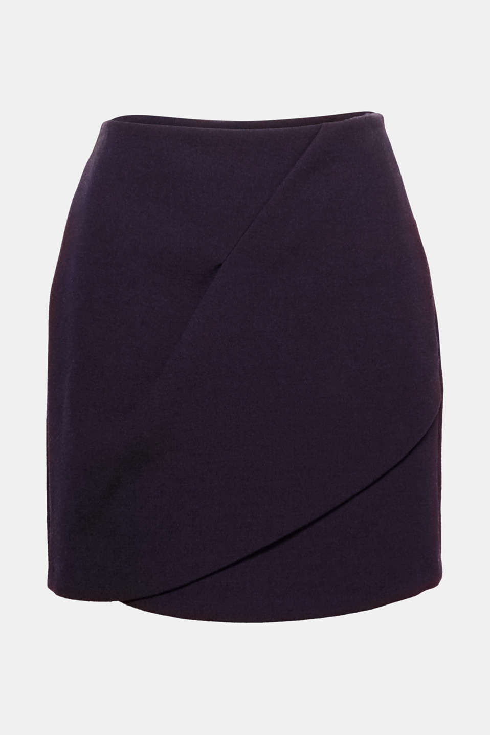 The decorative, fixed wrap-over effect on the front gives this finely textured mini skirt in firm fabric with stretch for comfort its sophisticated look.