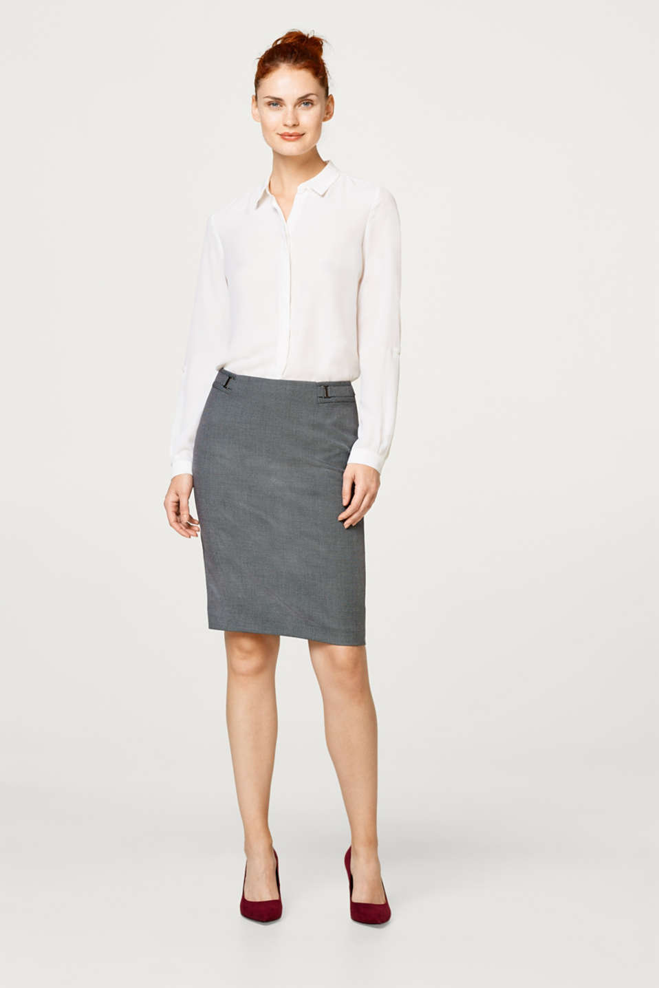 Esprit - Pencil skirt in a salt-and-pepper look