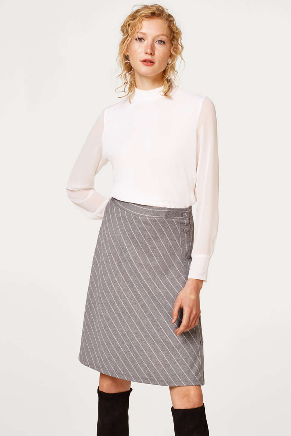Esprit - A-line skirt with fine stripes
