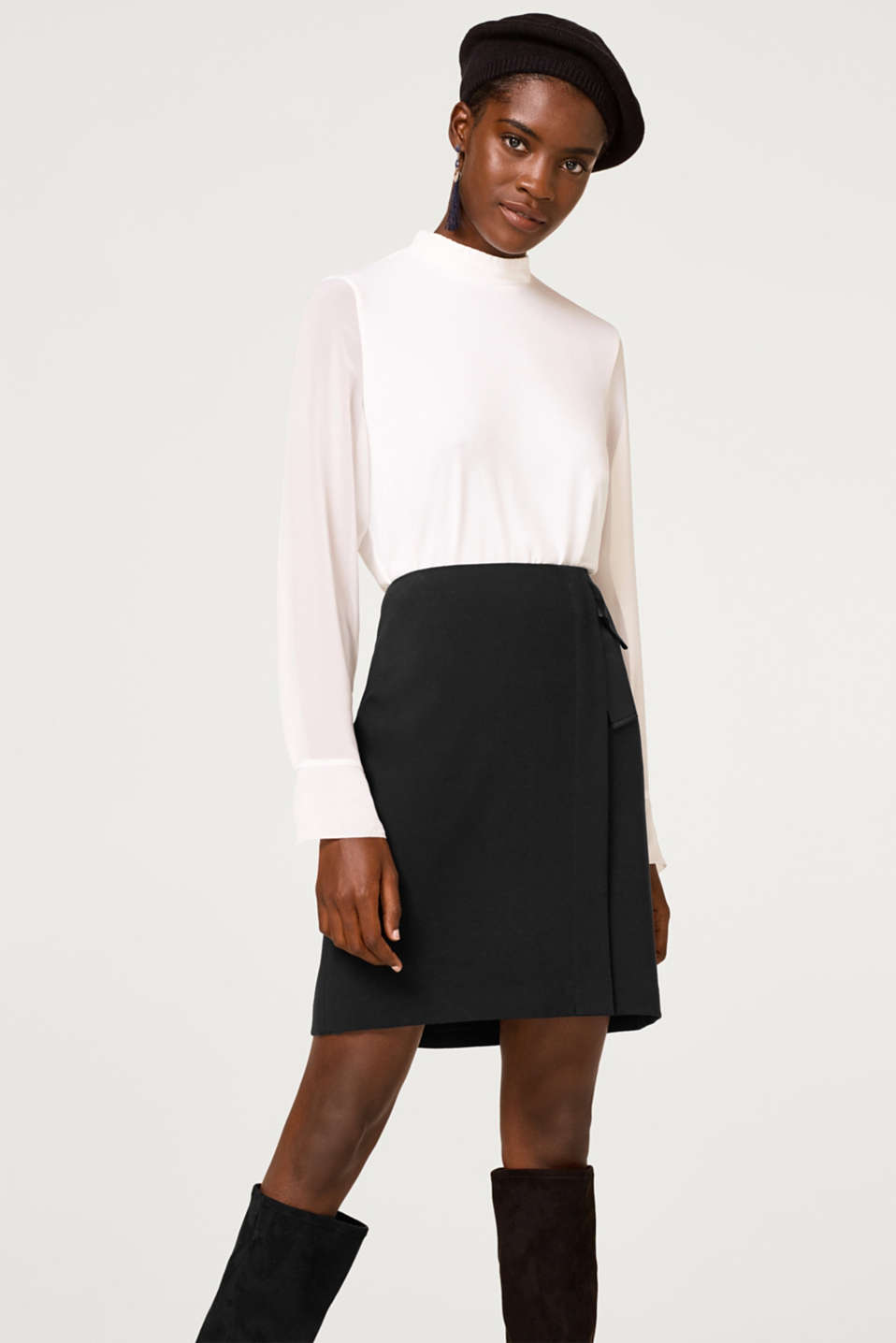 Esprit - Stretch skirt with a wrap-over effect