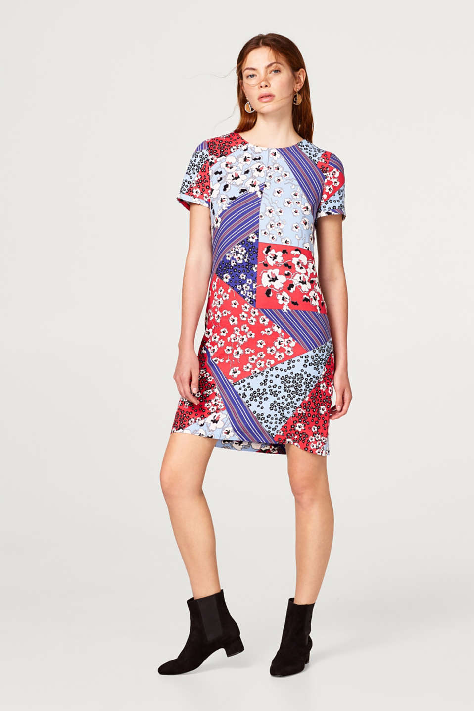 Patchwork-look, print dress