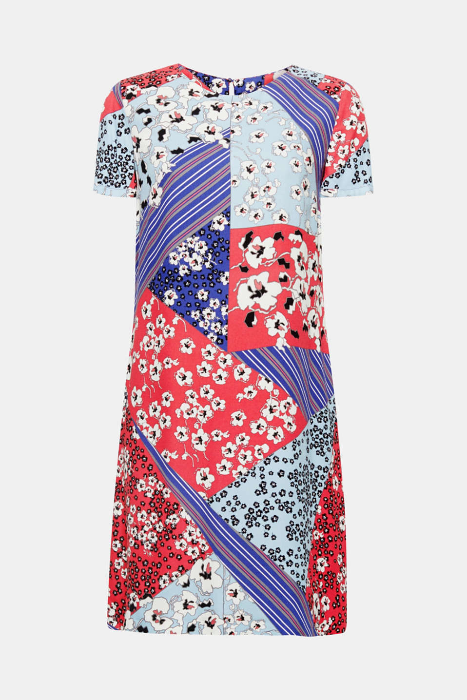 Mix it up! This floaty, loose-cut dress combines flowers and stripes to create a colourful ocean of patterns. Simply put it on and feel fabulous!