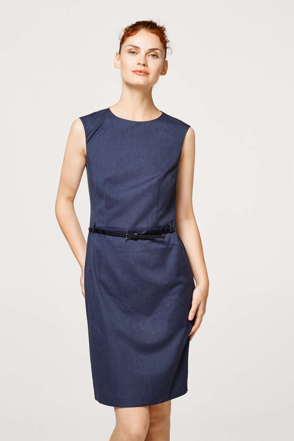 Esprit - Business herringbone sheath dress with belt