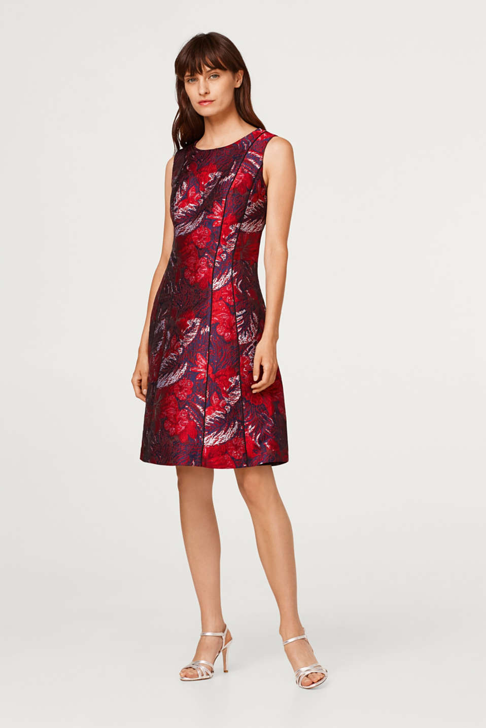 Dress with a floral jacquard pattern