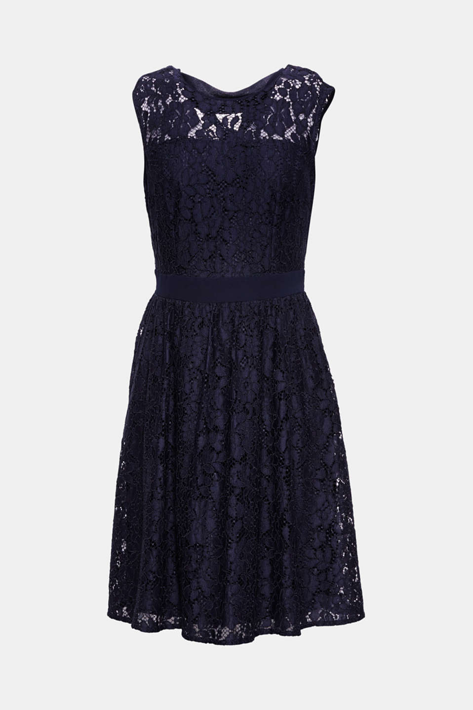 Elegant and feminine, this flared dress in floral lace features a figure-hugging bodice with pretty loop straps.