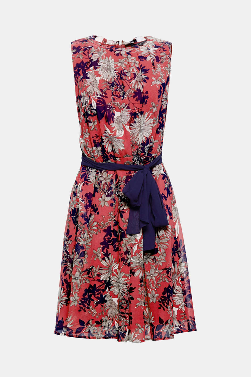 This flowing, skimming dress with a floral print and accenting tie-around belt is sure to turn heads at every party and on gorgeous summer evenings