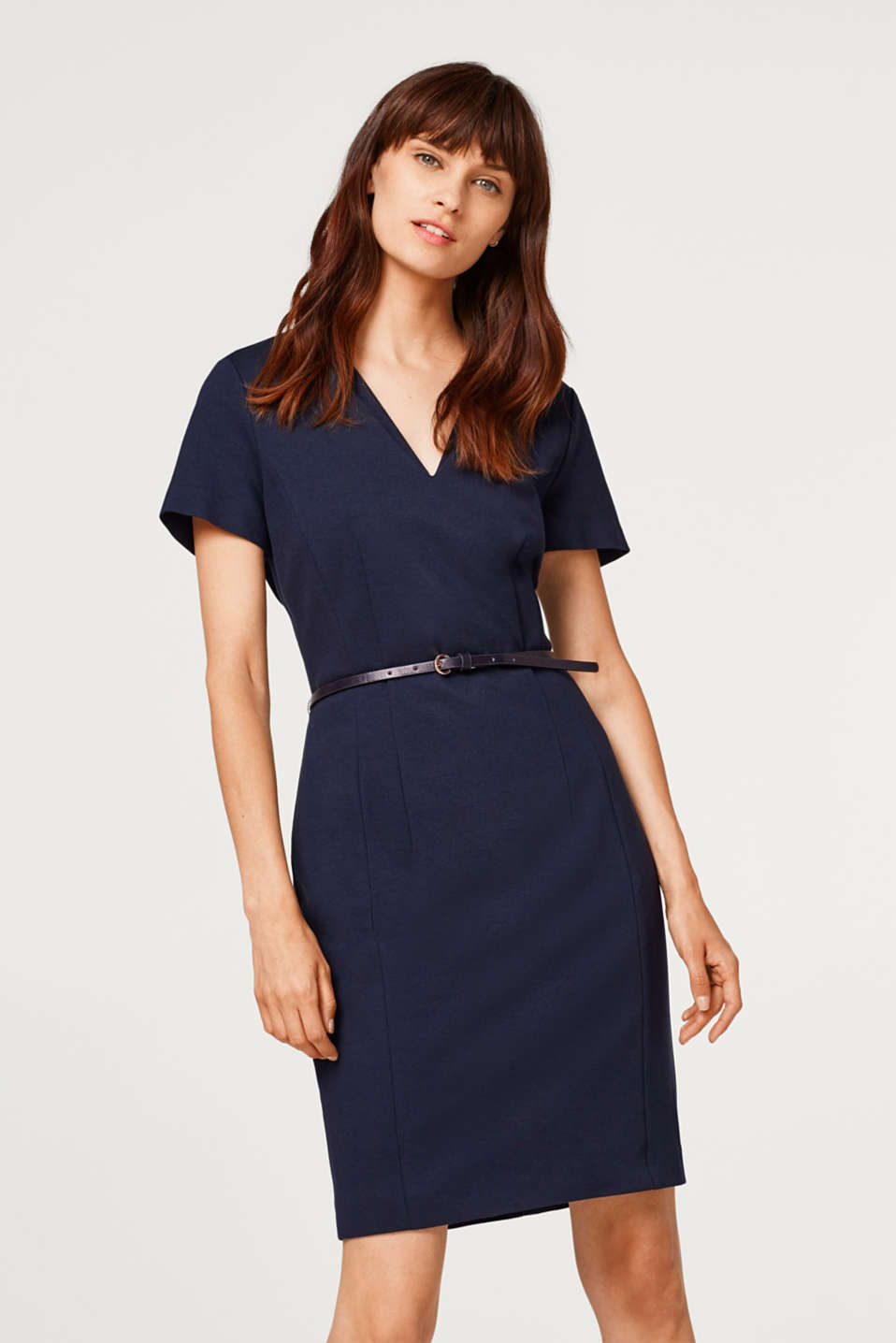 Esprit - Jersey dress with stretch and a belt