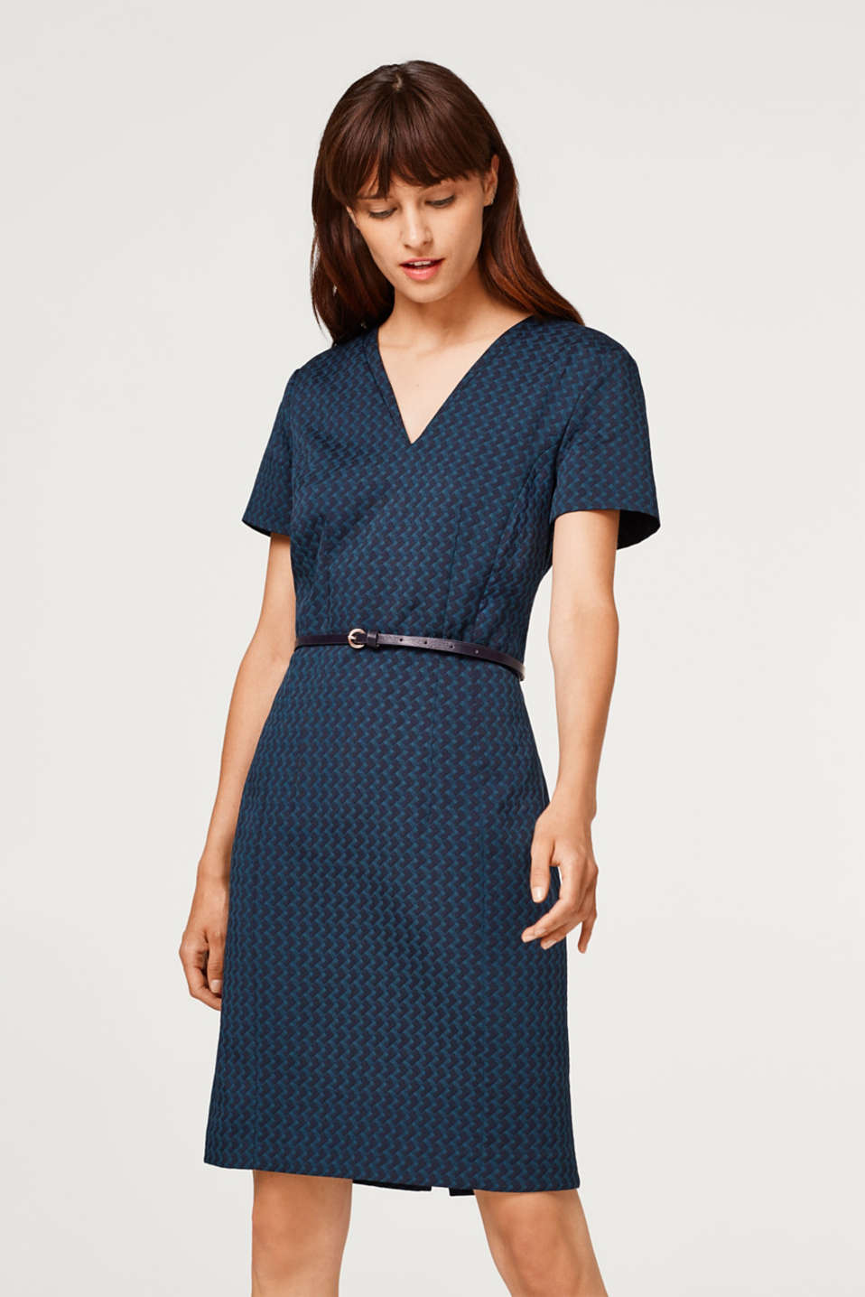 Esprit - Sheath dress with a jacquard pattern and stretch