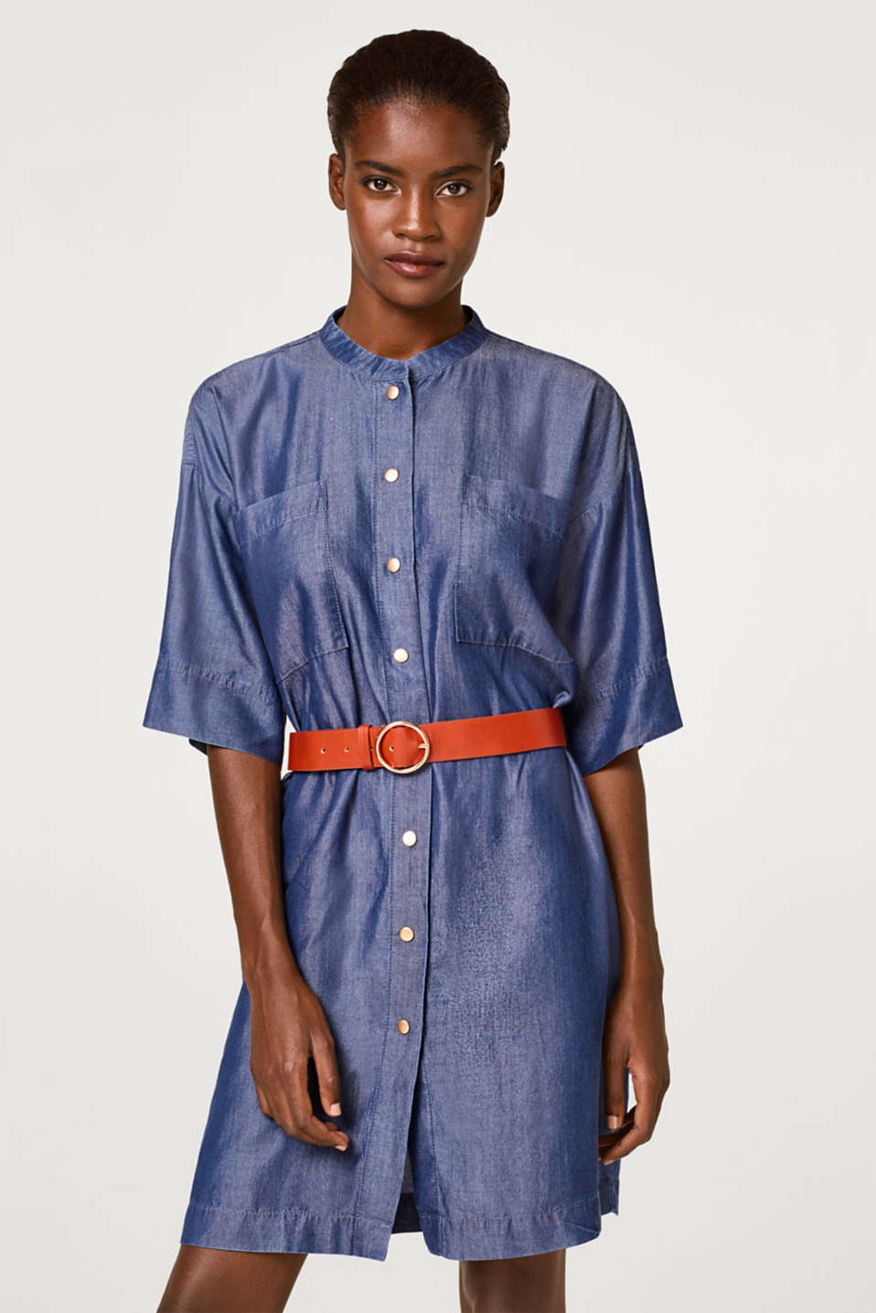 Esprit - Denim dress with a belt and a full-length button placket