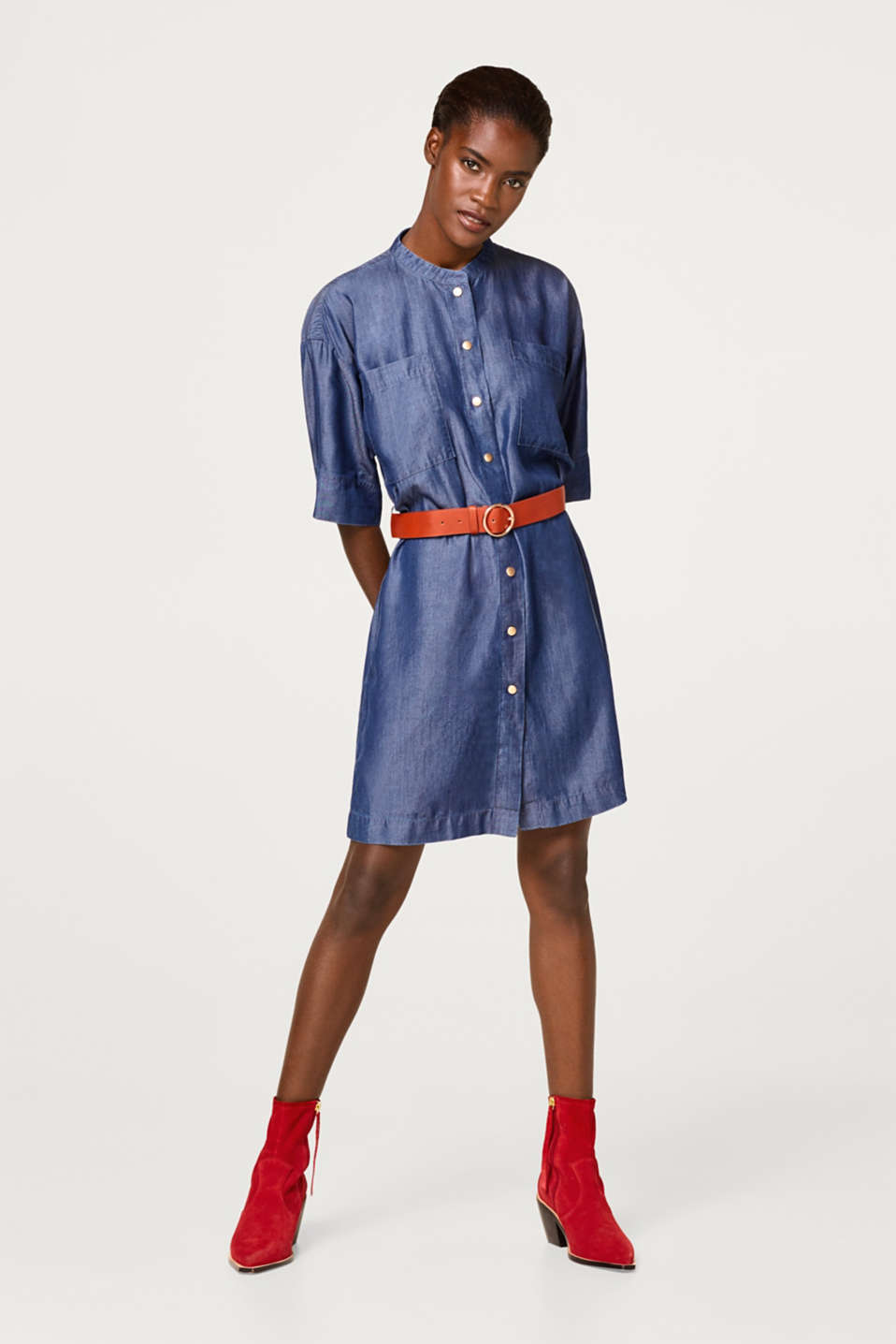 Denim dress with a belt and a full-length button placket