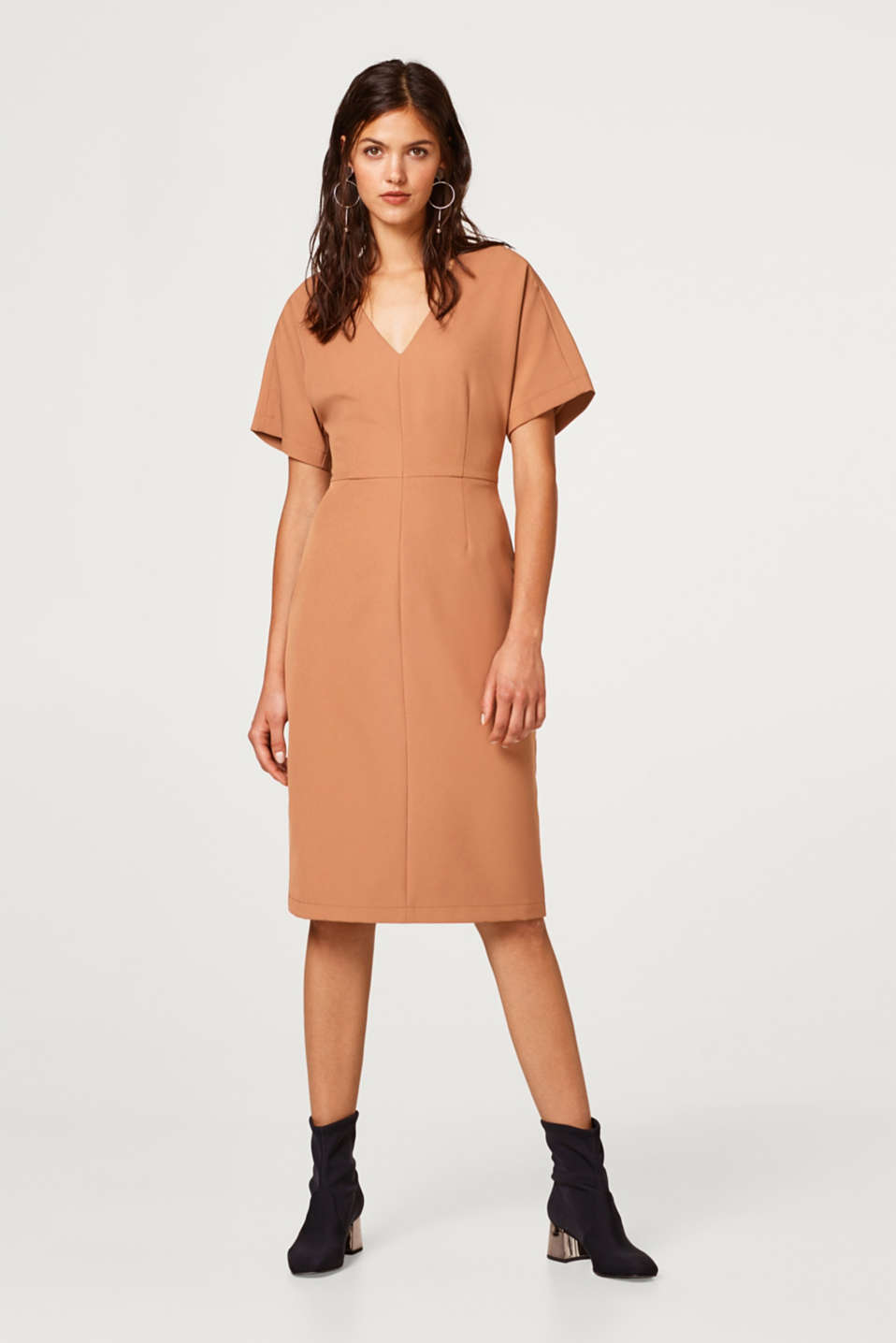 Esprit - Crêpe dress with kimono sleeves