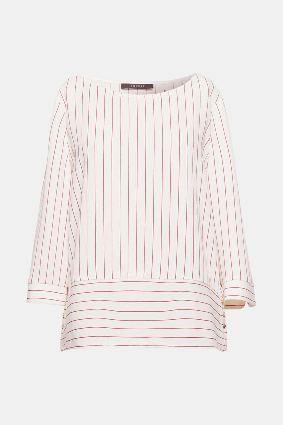 Modernity is in the detail: the wide, contrasting striped hem creates a special accent on this flowing blouse!