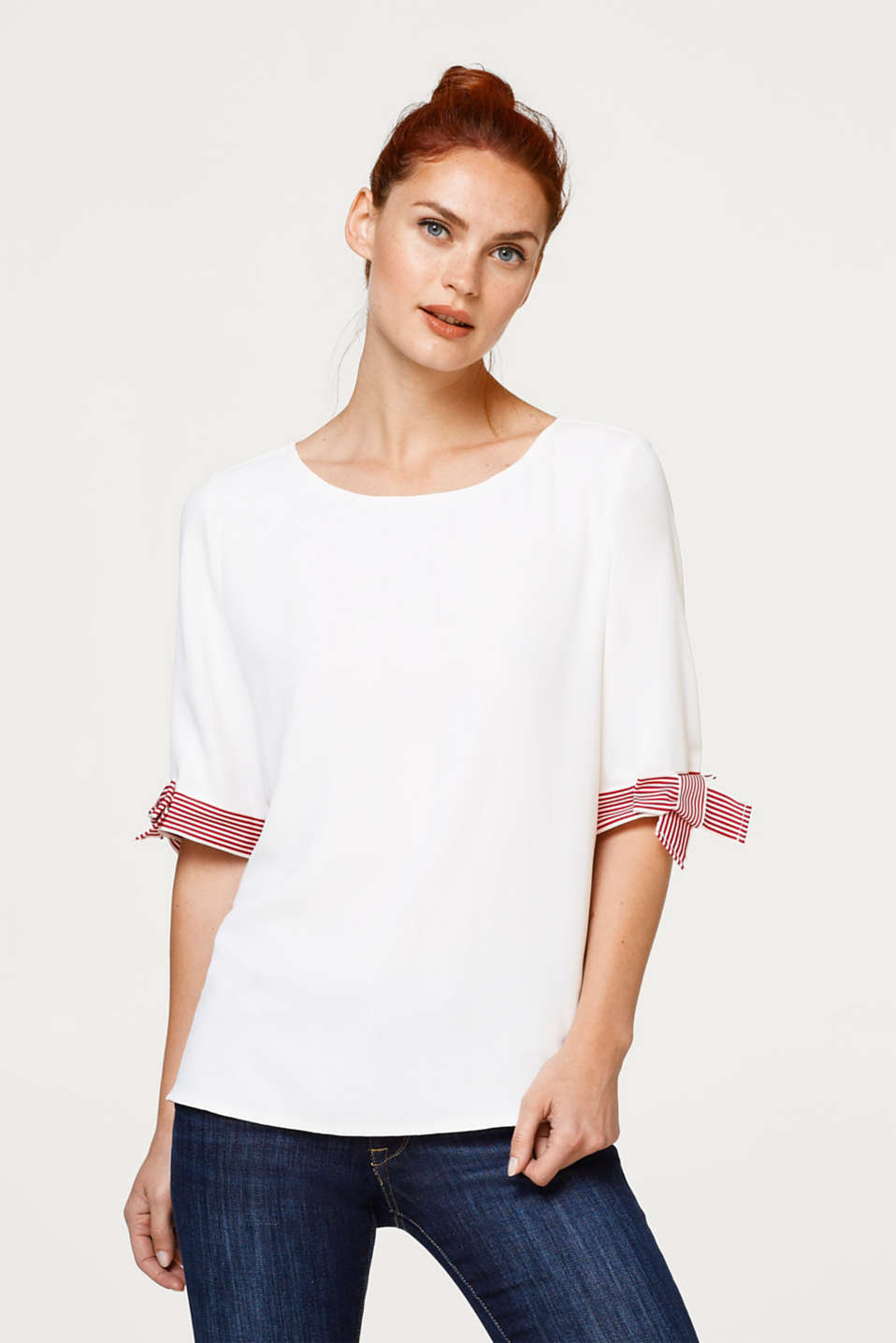 Esprit - Textured blouse with grosgrain ribbon details