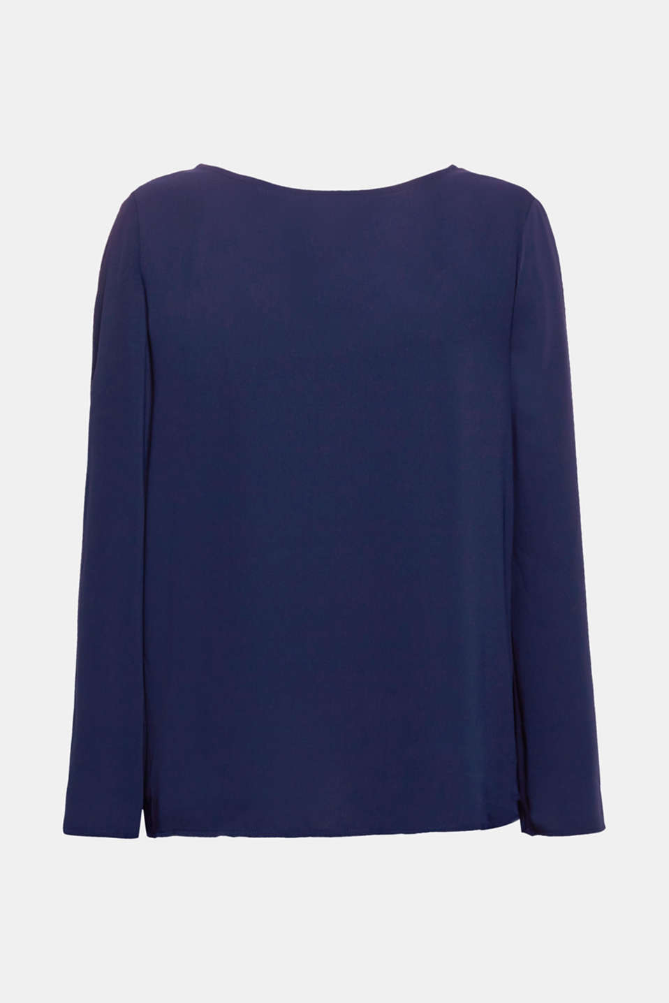 The tied bows on the back, trumpet sleeves and matte finish gives this flowing blouse its elegant look!