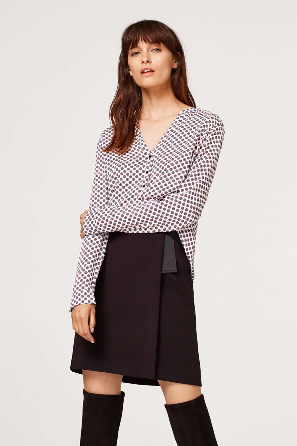 Esprit - Henley blouse with quilted details