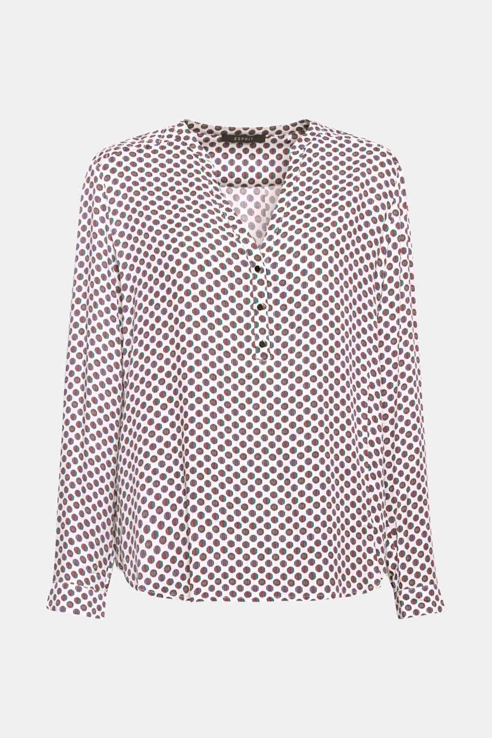 Update for the popular Henley blouse: The striking mini print and quilted upper back section provide fashionable input!