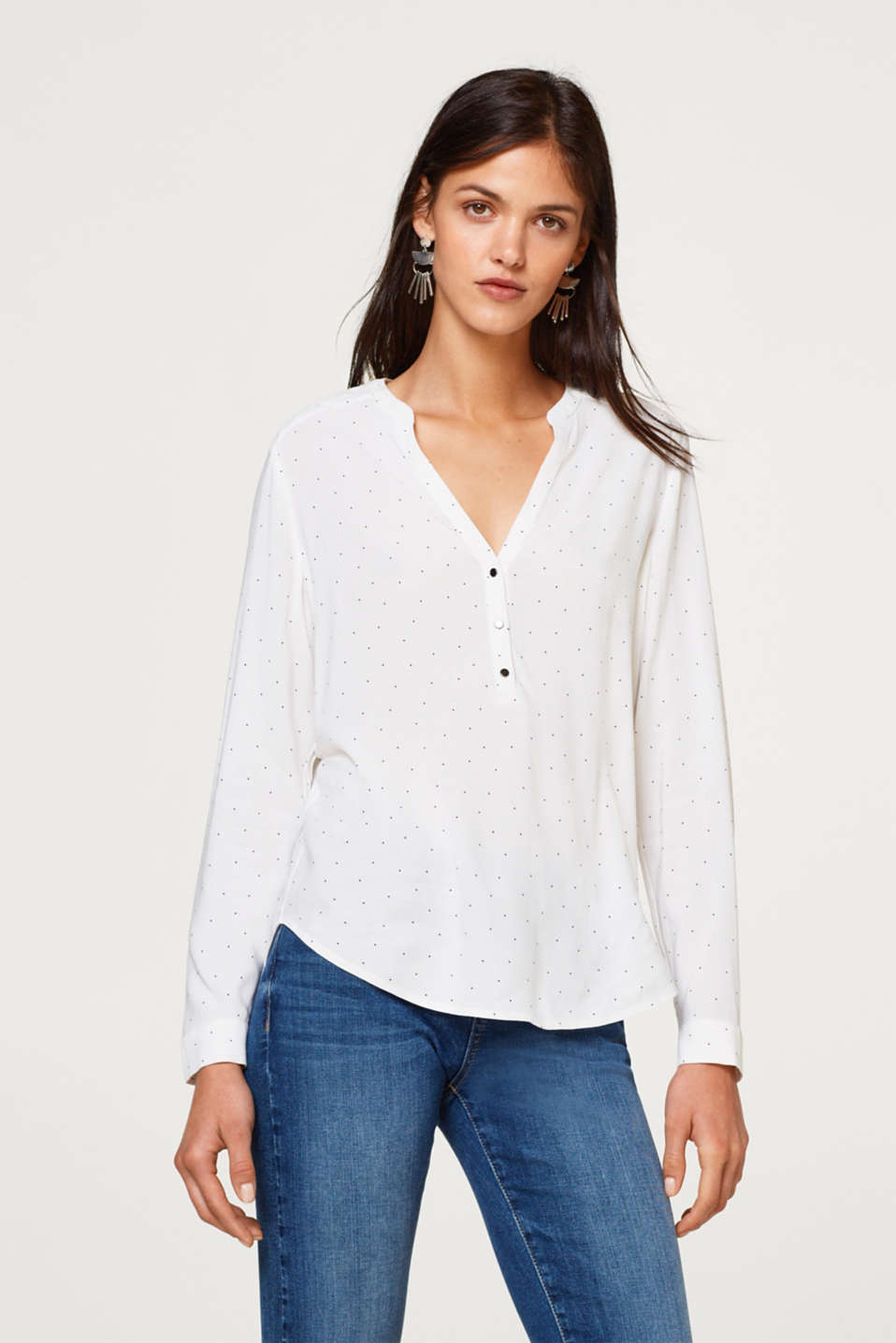 Esprit - Polka dot Henley blouse with quilted details