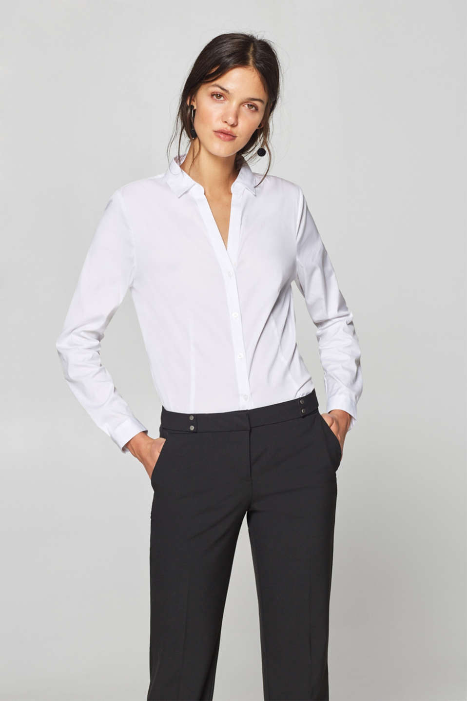 Esprit - Stretch blouse with an open collar