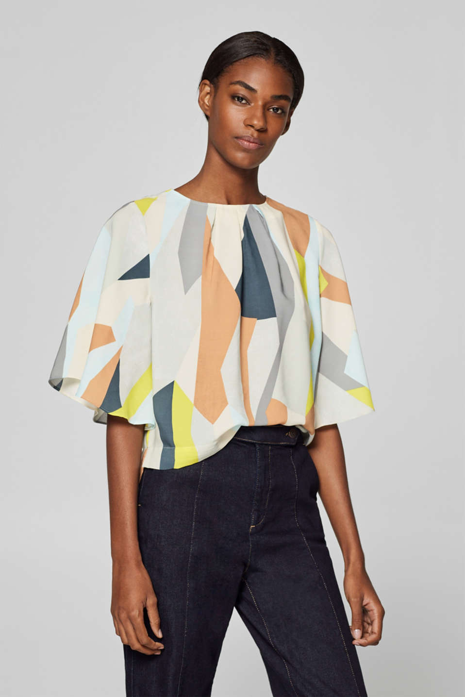 Esprit - Boxy blouse with wing sleeves