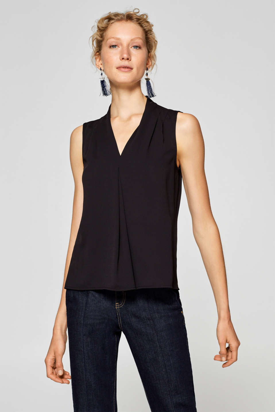 Esprit - Blouse top with pleated details